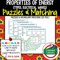 Energy, Heat, Light, Sound Waves, Compounds, Reactions, Physical Science Puzzles, Physical Science Digital Puzzles, Physical Science Google Classroom, Vocabulary, Test Prep, Unit Review