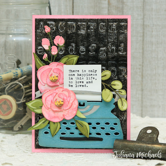 There Is Only One Happiness Card by Juliana Michaels featuring Kitsch Flamingo Distress Ink, Bloom Colorize Thinlits, and Retro Type Bigz Dies by Tim Holtz
