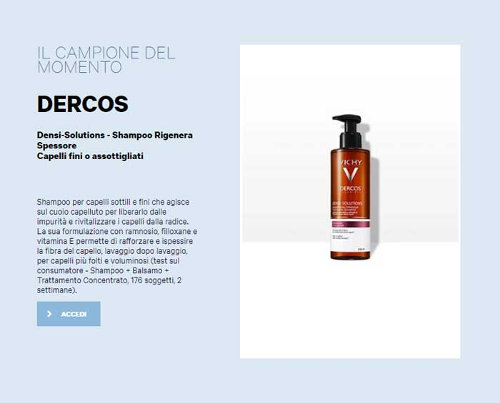 clicca qui per richiedere il tuo campione dello shampoo vicky