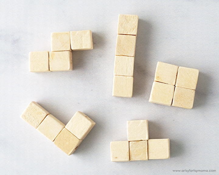 DIY Tetris Magnets made with wooden cube beads!