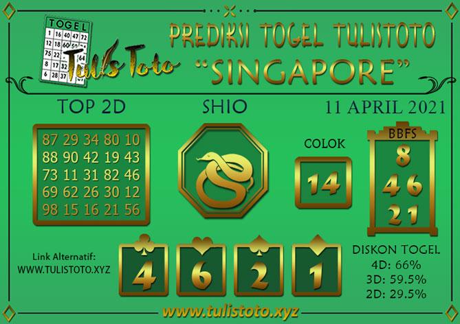 Prediksi Togel SINGAPORE TULISTOTO 11 APRIL 2021