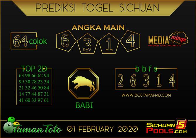Prediksi Togel SICHUAN TAMAN TOTO 01 FEBRUARY 2020
