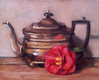 Oil painting of a silver teapot beside a pink camellia flower.