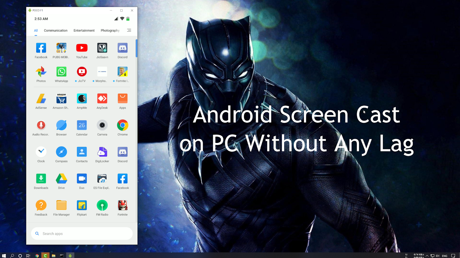 Lag Free Android Screen Cast on PC Without Any Software