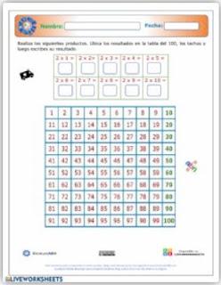 Ficha interactiva: La tabla del 100.