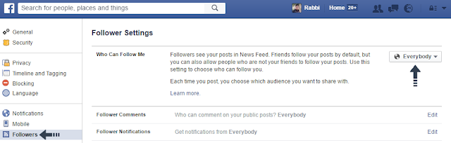 enable facebook follower
