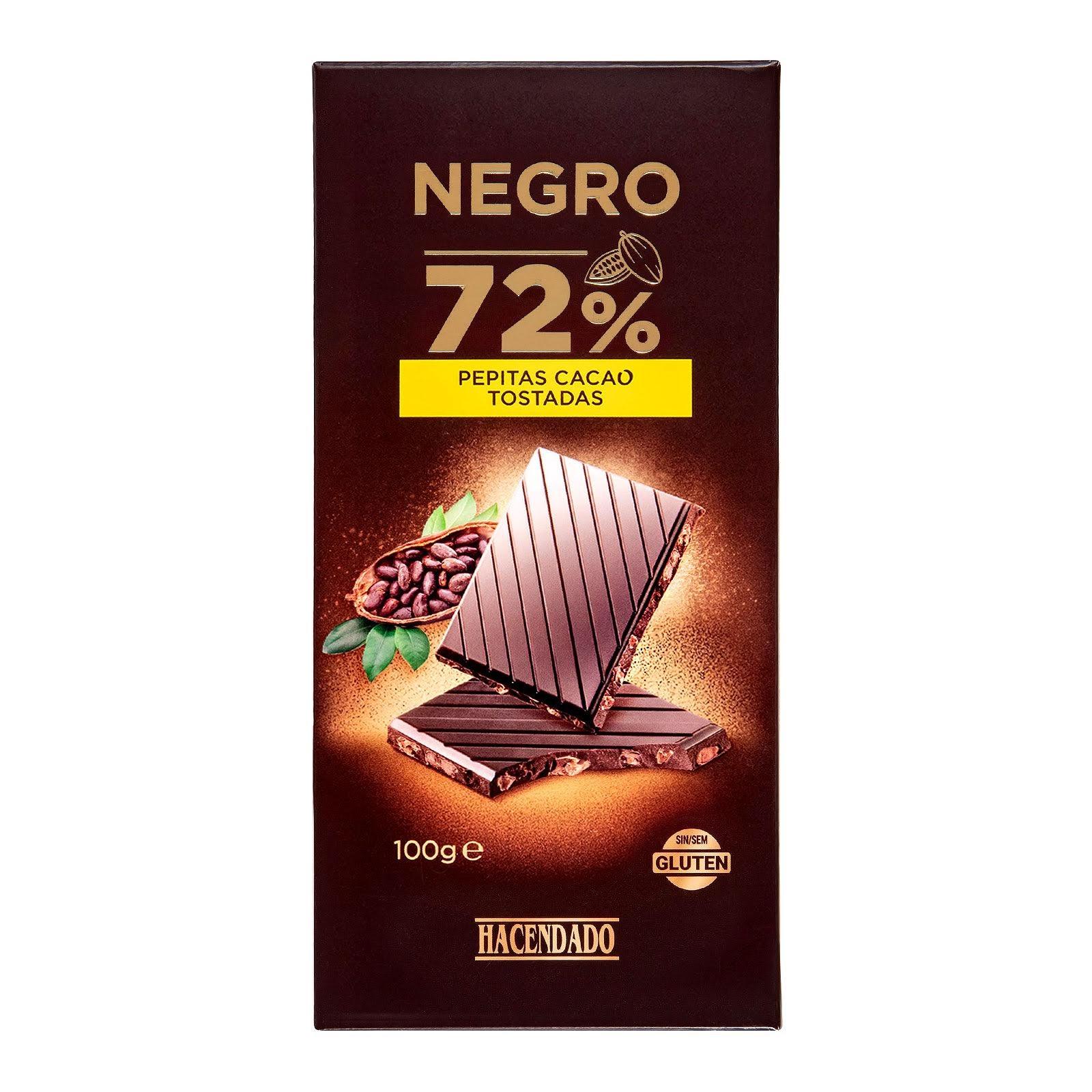 Chocolate negro extrafino 72% de cacao con pepitas tostadas Hacendado
