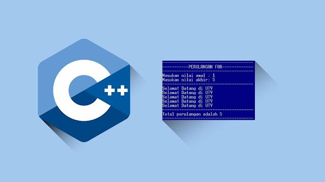 Contoh program C++ Perulangan, Input Nilai awal, nilai akhir dan Menampilkan total perulangan