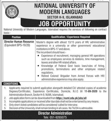 numl islamabad jobs 2020