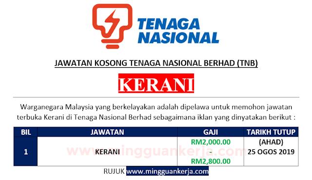 Jawatan Kosong Kerani Di Tenaga Nasional Berhad Tnb Sehingga 25 Ogos 2019 Mingguan Kerja