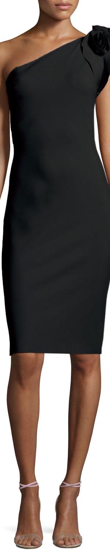 La Petite Robe di Chiara Boni Cenrica One-Shoulder Rosette Sheath Dress