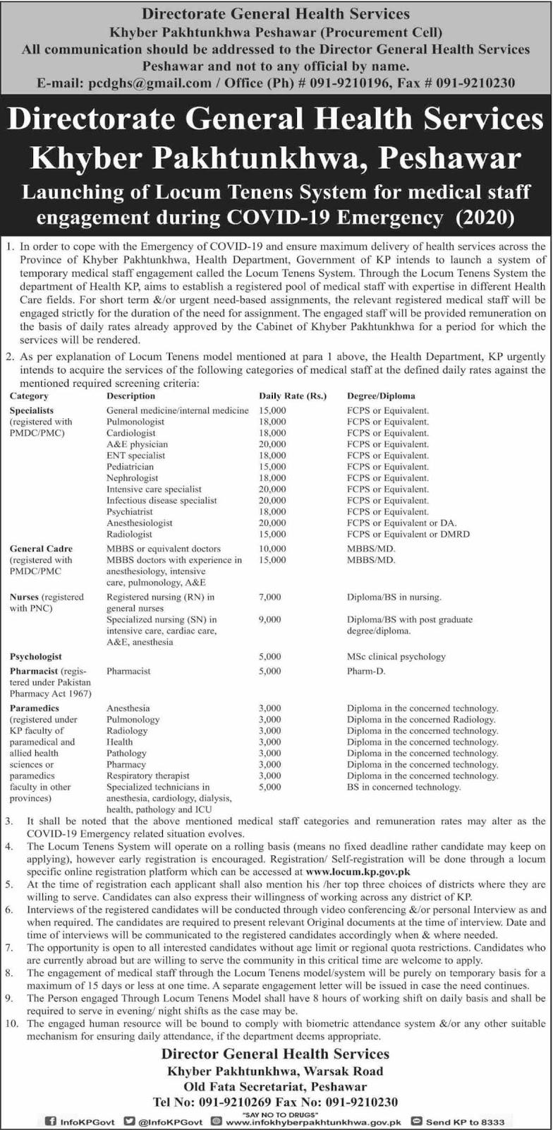 Health Department Government of KPK Jobs April 2020