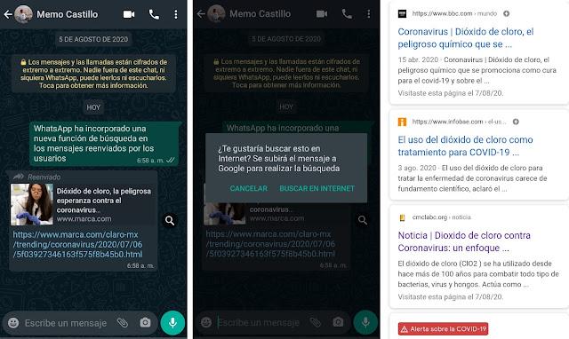 Nueva función de búsqueda en mensajes reenviados de WhatsApp