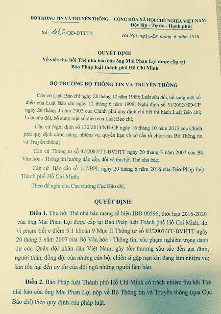 Mai Phan Lợi bị thu hồi thẻ nhà báo