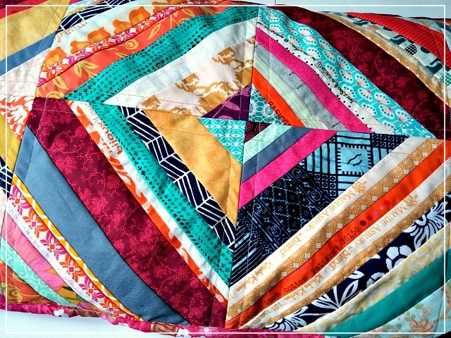 Puppilalla, scrap buster, patchwork,scrappy string pillowcase,