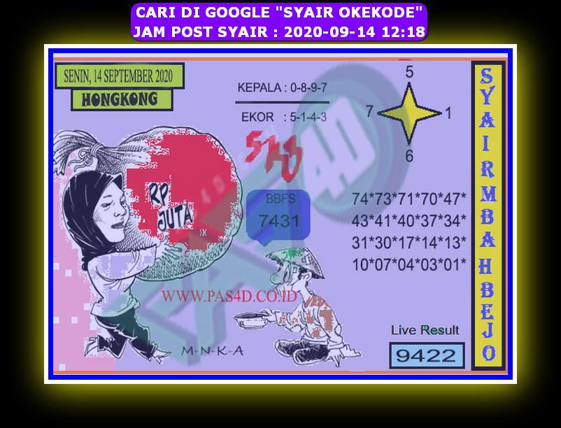 Kode syair Hongkong Senin 14 September 2020 263