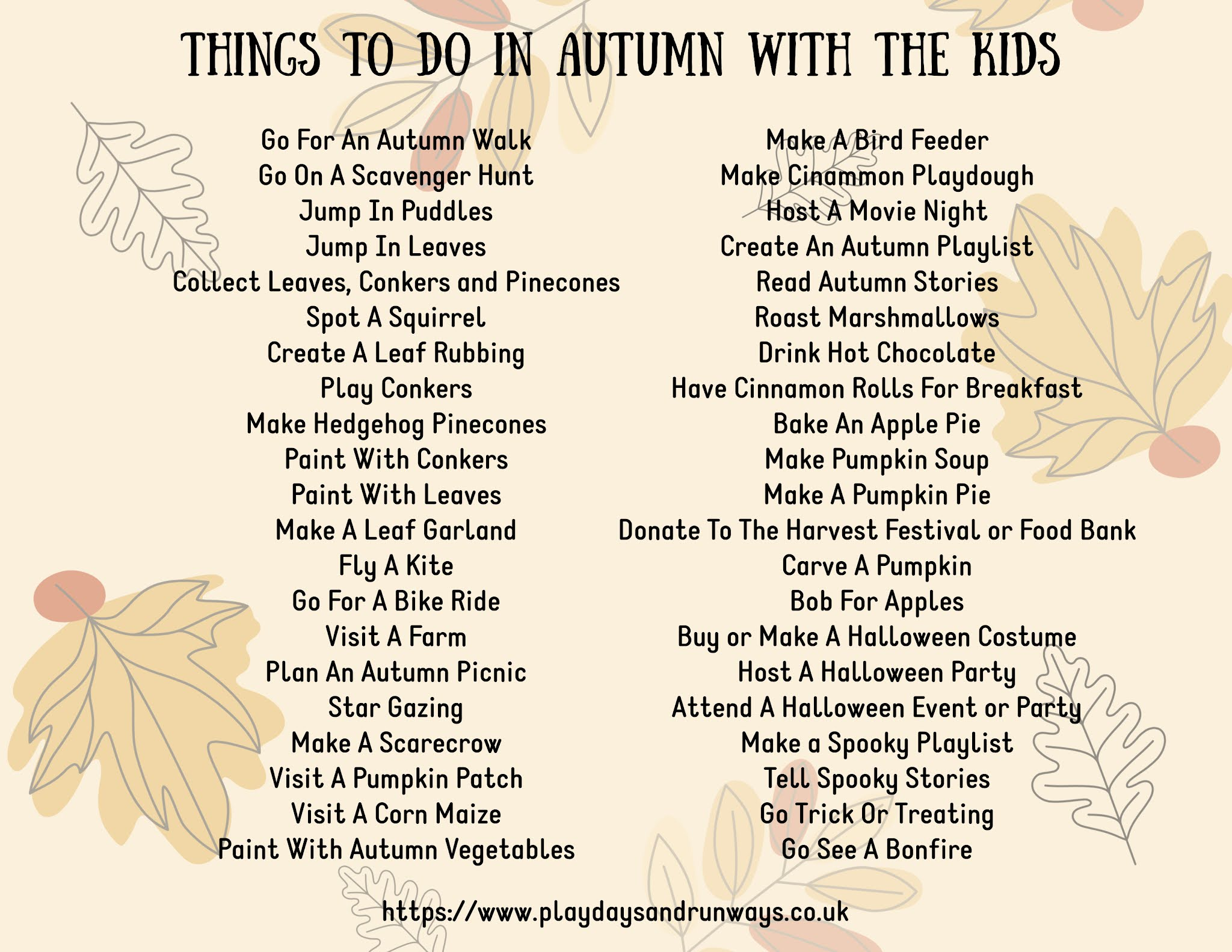 things to do with the kids in Autumn