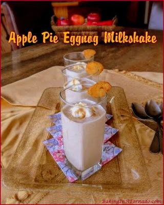 Apple Pie Eggnog Milkshake is a holiday treat, with alcohol for the adults or without for the kids. Perfect for an afternoon by the fire or even a dessert. | Recipe developed by www.BakingInATornado | #recipe #holiday