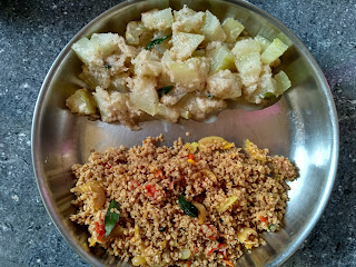 Fire cooked lunch - Beaten Kodo millet with Tomato Onion masala,  Ash gourd aviyal