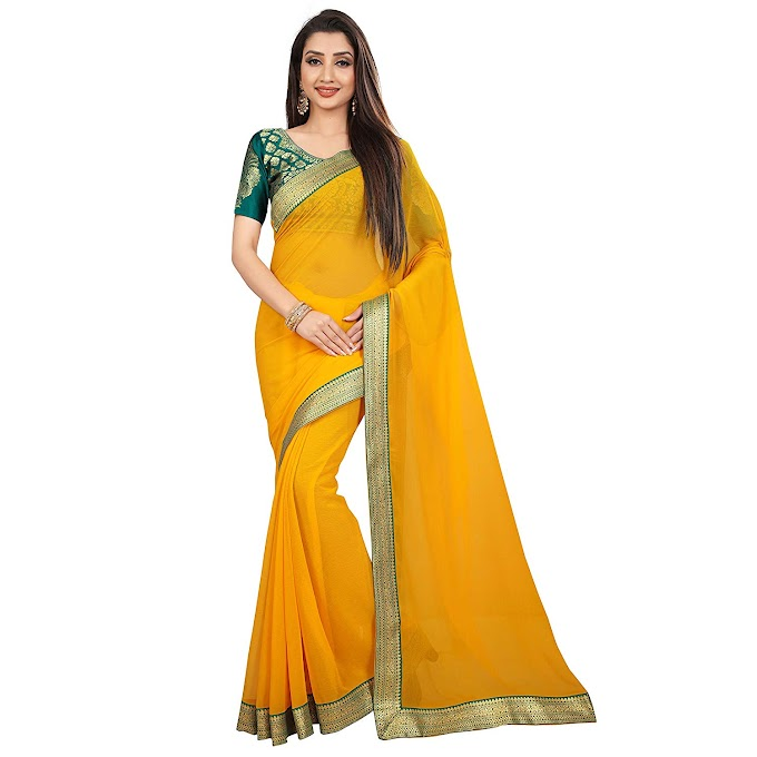 Anand Sarees Chiffon Solid Plain Saree With Lace Border And Unstitched Green Color Jacquard Blouse Piece 1468