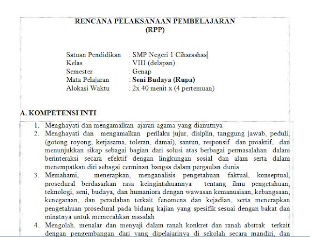 RPP SENI BUDAYA K13 SMP/MTS KELAS VIII REVISI 2017-2018