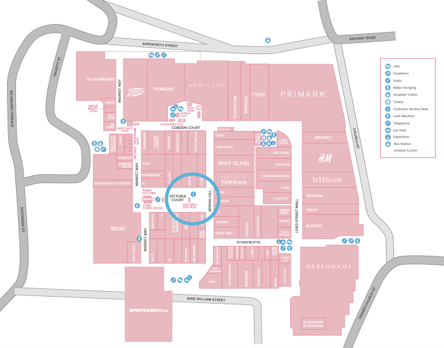 Blackburn Mall Map showing Ask Me Point and all shops 2019