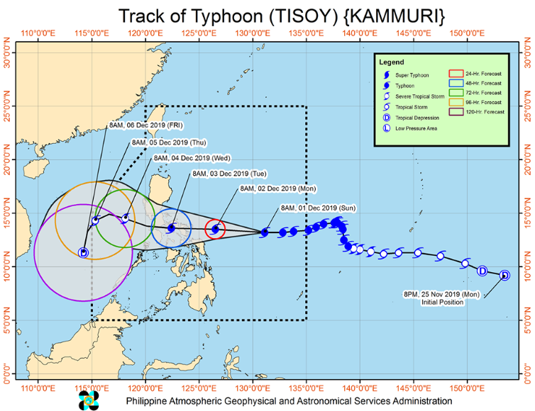 Latest track of Typhoon Tisoy.