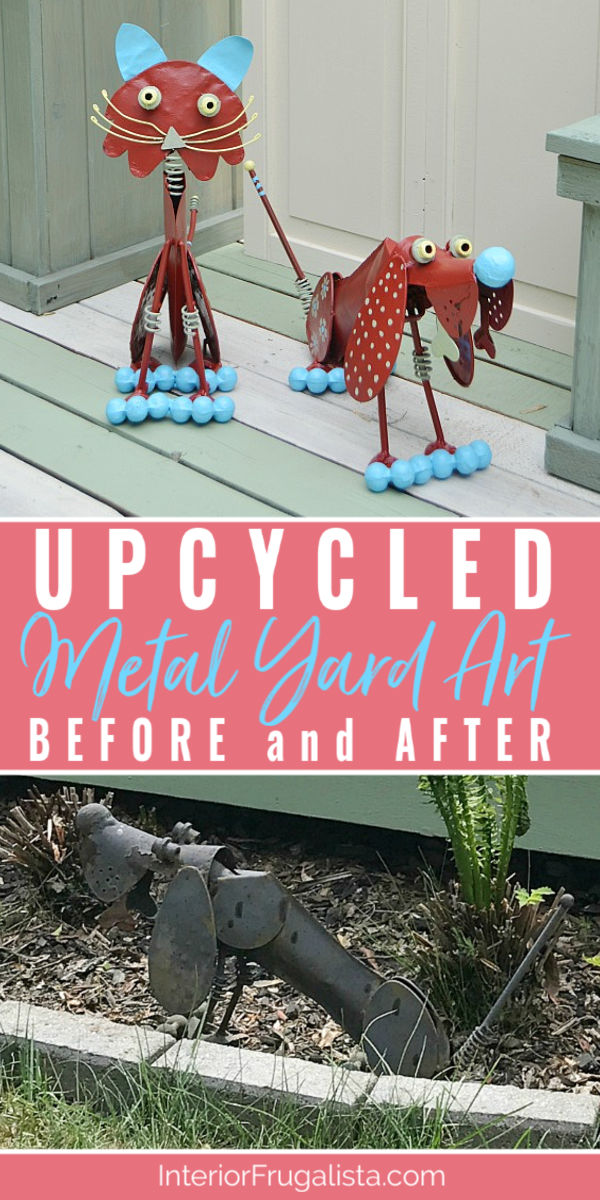 How to rejuvenate weathered metal garden art with whimsical charm. An easy budget-friendly yard art upcycle rather than replacing them with brand new. #gardendecor #outdoordecor