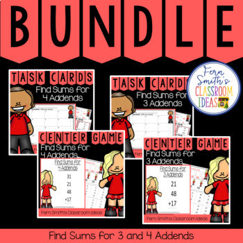 Second Grade Go Math 4.11 and 4.12 Bundle: Find Sums for 3 and 4 Addends from Fern Smith's Classroom Ideas at TpT.