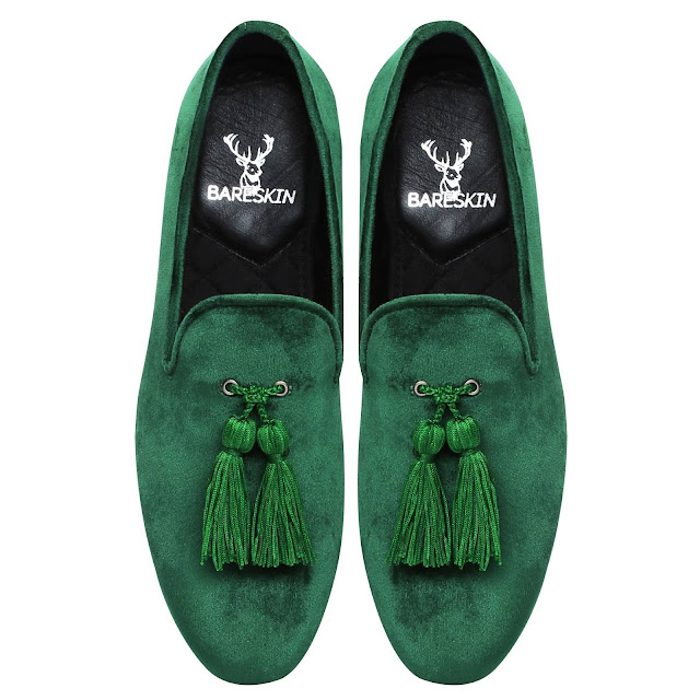 GREEN DUAL SHADE VELVET SLIP-ON     SHOES WITH STYLISH TASSEL BY BARESKIN