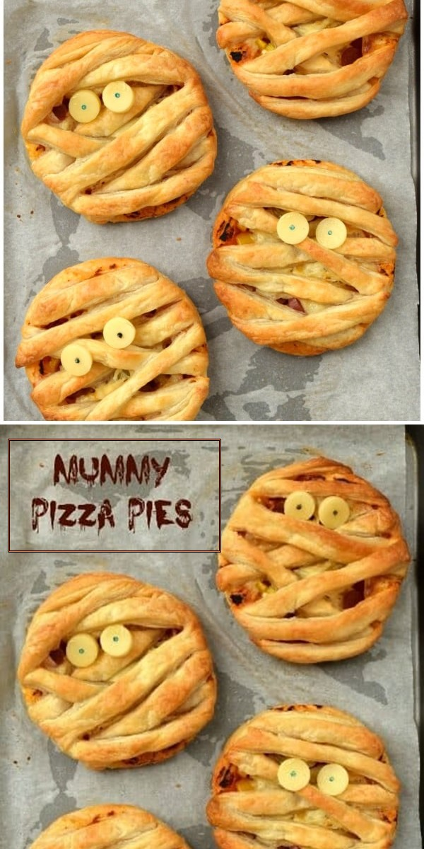 Mummy Puff Pastry Pizza Pies #halloweenrecipes