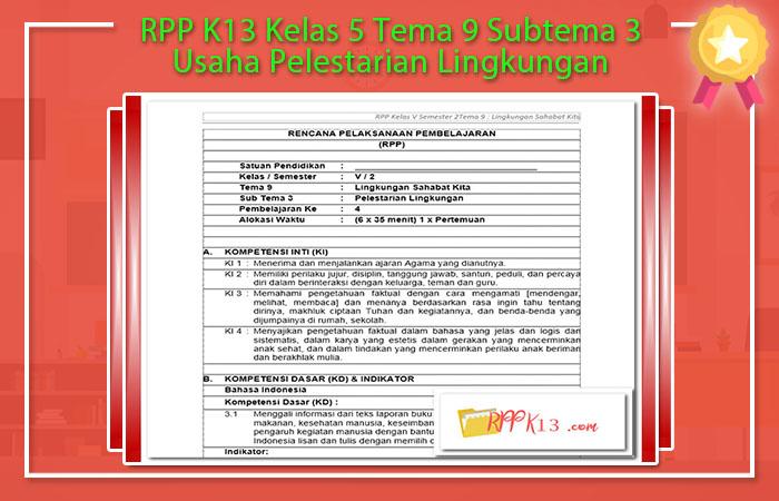 RPP K13 Kelas 5 Tema 9 Subtema 3 Usaha Pelestarian Lingkungan