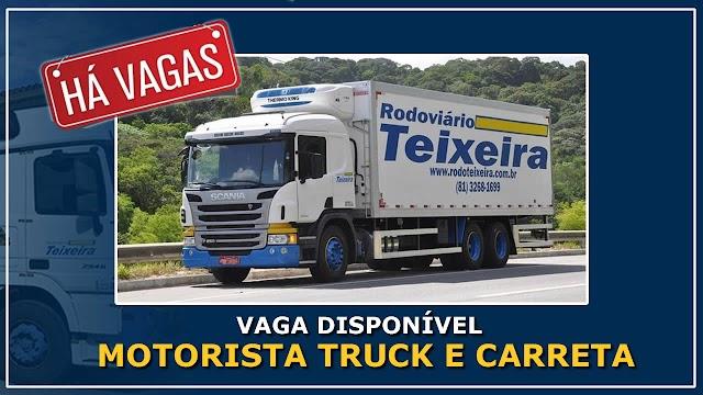 Rodoviário Teixeira abre vagas para Motorista Truck e Carreteiro