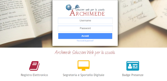 Credenziali Registro elettronico Archimede