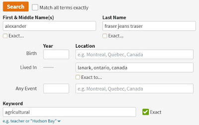 Screen capture from Ancestry.ca showing the search filters used to locate Alexander Fraser in Lanark, Ontario, Canada in the 1851 Census of Canada West Agricultural schedule.