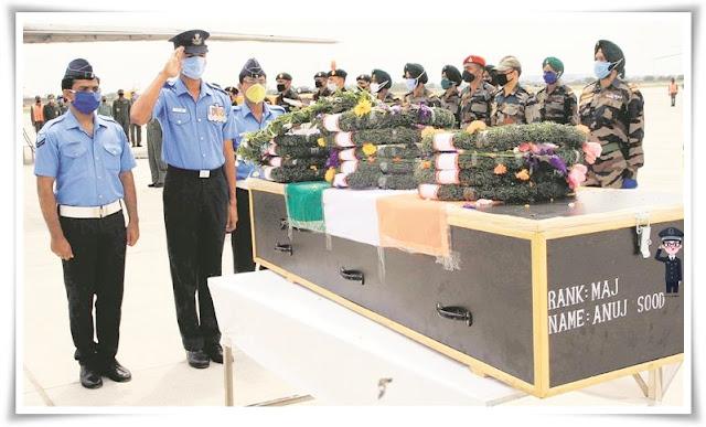 Major Sood's mortal remains arrive in city