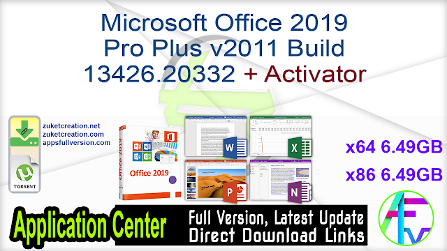 Microsoft Office 2019 Pro Plus v2011 Build 13426.20332 + Activator