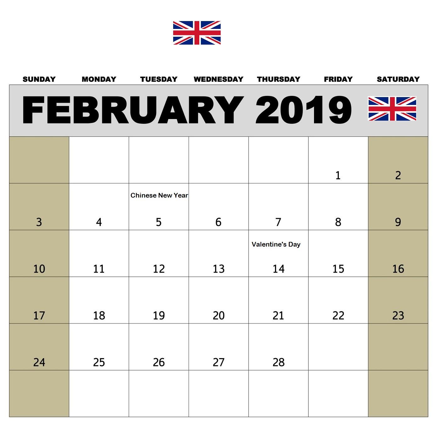 february 2019 pdf calendar templates