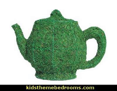 Teapot Moss Topiary  Alice in Wonderland party decorating ideas - Alice in Wonderland theme party decorations - Alice in Wonderland costumes -  Alice in Wonderlnd wall decals - Alice in Wonderland wall murals -  tea party theme Alice in Wonderland Tea Party
