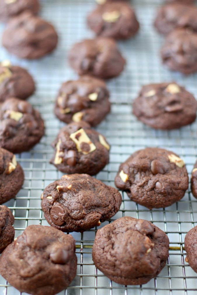 Batch of baked Double Chocolate Chunk Cookies