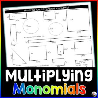 Multiplying Polynomials Worksheet - monomials