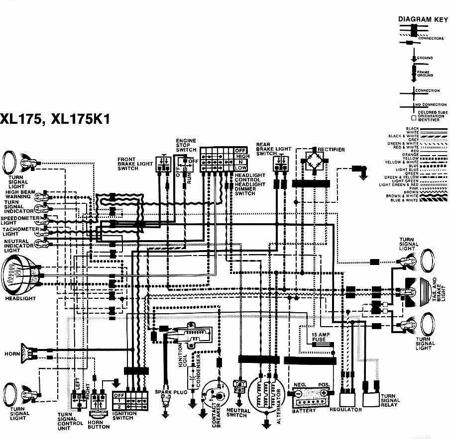 honda xl175 and xl175k1 motorcycle wiring diagram | all ... suzuki motorcycle electrical wiring diagrams freex4 #9