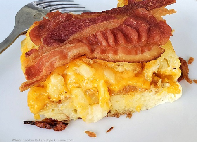 all in one pan breakfast baked egg casserole with bacon on top