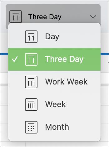 اختر ثلاثة أيام في تقويم Outlook