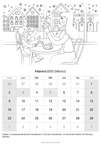 Calendario febrero 2020 casa de méxico