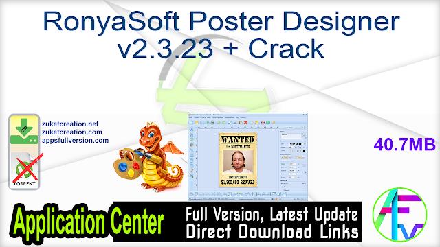 RonyaSoft Poster Designer v2.3.23 + Crack