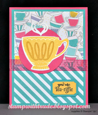 Nice Cuppa stamp set, Stampin Up, Trude Thoman, Stamp with Trude, Tuesday Tutorial, greeting card. tea cup