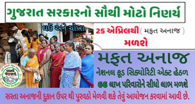 ઘઉં અને ચોખાનું મફત વિતરણ કરવામાં આવશે  Wheat and rice will be distributed free of cost for five days by 66 lakh families and the state government