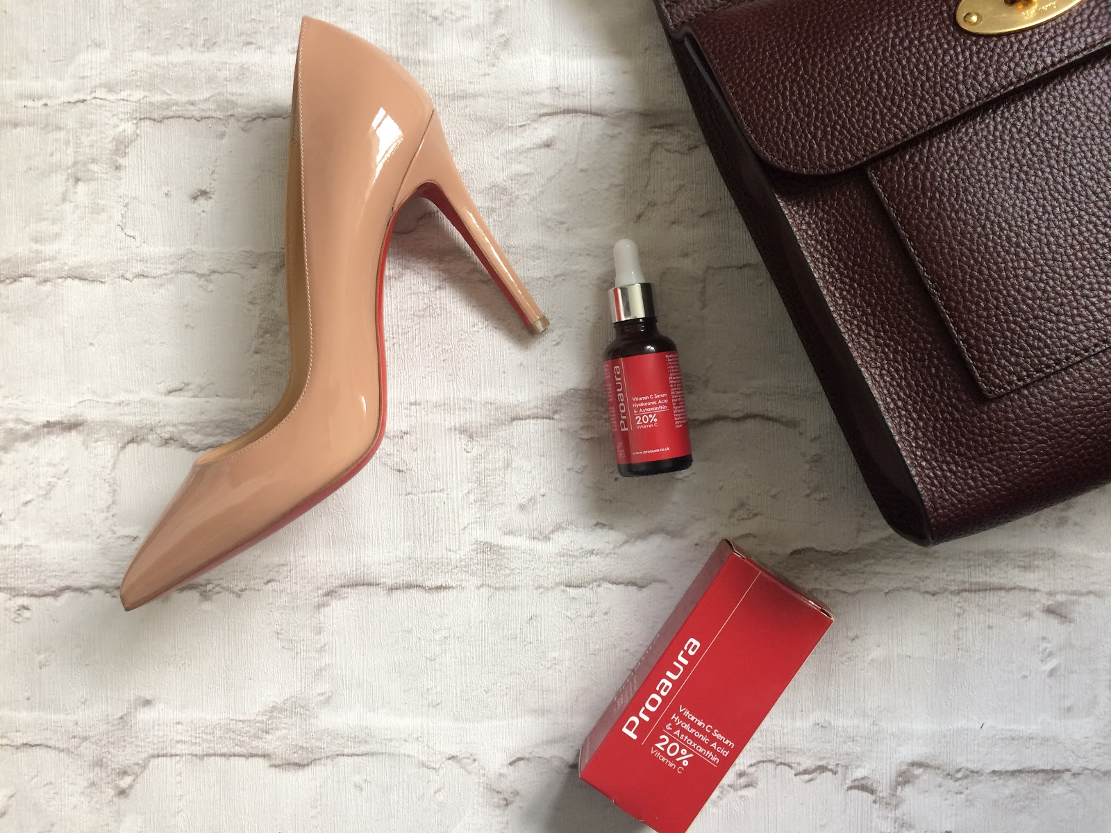 Proaura Vitamin C with Astaxanthin, Mulberry Antony bag in Oxblood, Louboutin pigalle