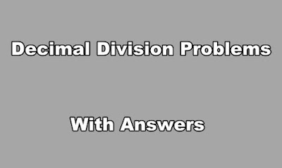 Decimal Division Problems With Answers